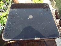 black glass garden table