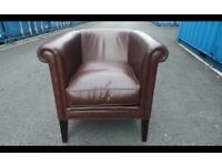 Stylish Laura Ashley Osbourne brown leather tub chair chair,Immaculate Condition