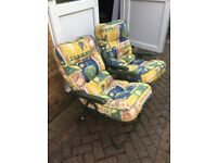 2 Folding green garden chairs with thick cushions