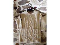 EX Catalogue NEW Girls' Cream Cable Knitted Dress (Lurex) Gold Thread Intertwined