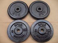 4 x 5kg cast iron weights