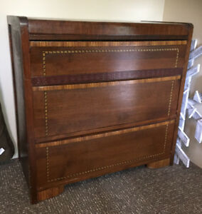 Antique Tall 1930's waterfall dresser and double bed frame set