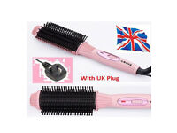 New Auto Electric Hair Straightener Brush Curler Comb Salon Tool Massager