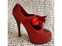 Bordello burlesque 6in ladies vintage retro red glitter wizard of oz Size4/EU37 heels