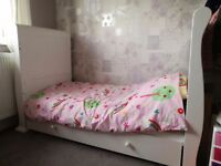 White sleigh cot bed with matress