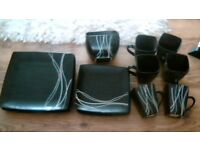 modern square black 18 piece dinner set in very good condition