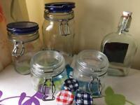 Preserving jars 21 various