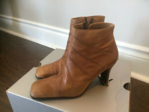 Beige/Tan Leather Booties for Sale