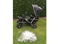 graco stadium duo tandem double inline pushchair by mothercare plus raincover for sale