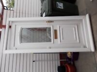 WHITE UPVC FRONT DOOR COMPLETE WITH FRAME 2 KEYS