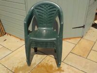 Plastic Patio / Garden Chairs in Green -Set of 4