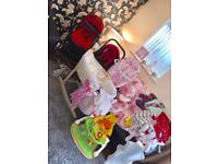 Complete baby bundle,, travel system, Moses basket , bouncer , clothes , sit me up