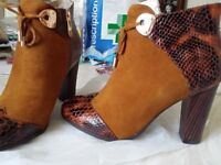 brand new brown/mustard colours real leather ankle shoes/boots, size 4.5-5