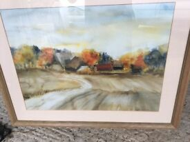 Framed picture titled Orange Trees and signed.