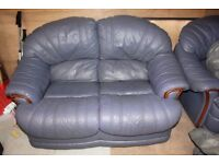 Two blue leather sofa. Good condition great for first time buyers