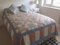 Handmade patchwork quilt, 4 cushions and 2 pillowcases for king size bed barely used