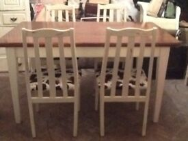 Cream table and chairs righter for dining room or kitchen