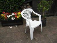 Garden Chairs. White Plastic