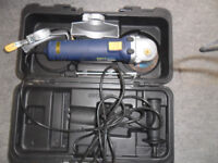 angle grinder 4/1/2 inch used once in carry case with tools spare disc instructions