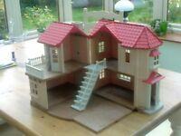 Dolls House: Silvanian Willow Hall House, illuminated. Including Rabbit Family