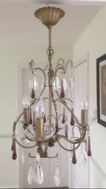 3 Arm Laura Ashley Venetian Crystal Chandelier