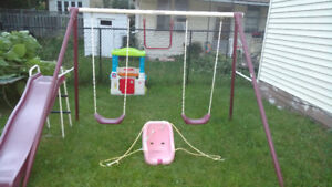 Swing set plus outdoor play house