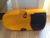 Sledge yellow plastic with seat and brakes