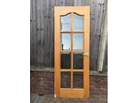 Heavy Oak Internal Door with bevelled glass panels