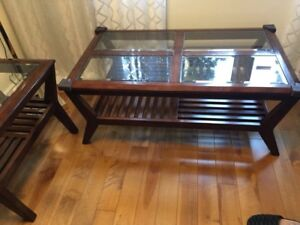 Two coffee tables - glass w/wood frames