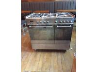 Used De'longhi Stainless steel range & oven 90 cm wide