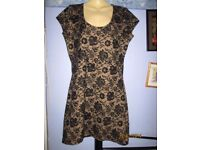BLACK & GOLD LACE EFFECT DRESS SIZE 14 FROM PEACOCKS PARTY OR WEDDING