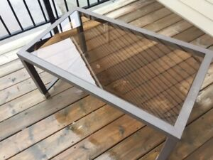 Metal and Glass Outdoor/Deck Coffee Table