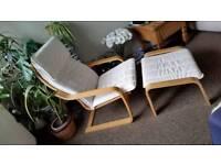 Ikea armchair and footstool