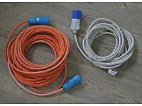 Electric extension power cables for caravans