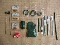 Bundle of 18 Floristry Supplies Green Wire Stub Wire Mossing Twine Moss Tape Corsage Pins etc