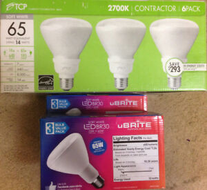 12 new soft white 65W-equivalent CFLs; BR 30; 6 dimmable