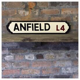 Anfield street sign, hand made, hand carved, solid wood, new