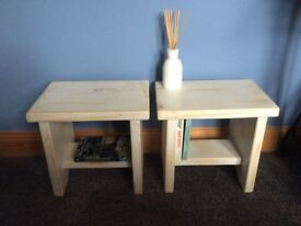 Pair of small, shabby chic style, pine side tables