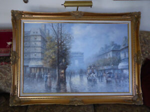 Framed Original Oil Painting of Paris, France on Canvas