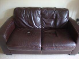 Chocolate Brown leather sofa - FREE