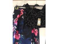 Coast outfit new size 16 dipped hem skirt & Bardot top