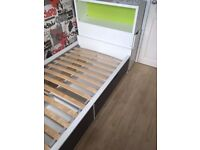 Ikea Flaxa storage bed with headboard pull out