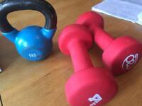 5KG Kettle Bell and Two 4KG Hand Weights