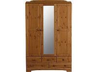 Nordic 3 Door 5 Drawer Mirrored Wardrobe - Pine