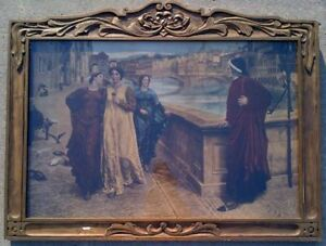 Three framed prints.  Dante and Beatrice by Henry Holiday.