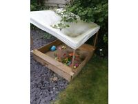 Wooden Plum Sandpit with Canopy and Cover