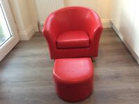 Kids red leather chair
