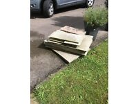 8 pieces of natural sandstone slabs 90cmx60cm plus 7 other sandstone slabs of various sizes