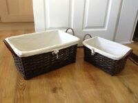Two Vintage style Wicker baskets with handles for storage - leather look handles and washable liners