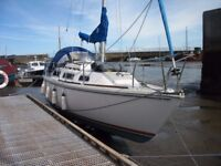 Jaguar 25ft family sailing yacht berthed in Avoch Harbour Ross-shire